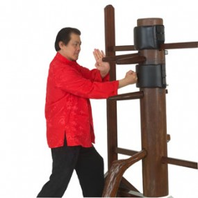 Wing chun training grandmaster William Cheung during wooden dummy training.